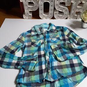 Justice multi color plaid long sleeve shirt sz 12